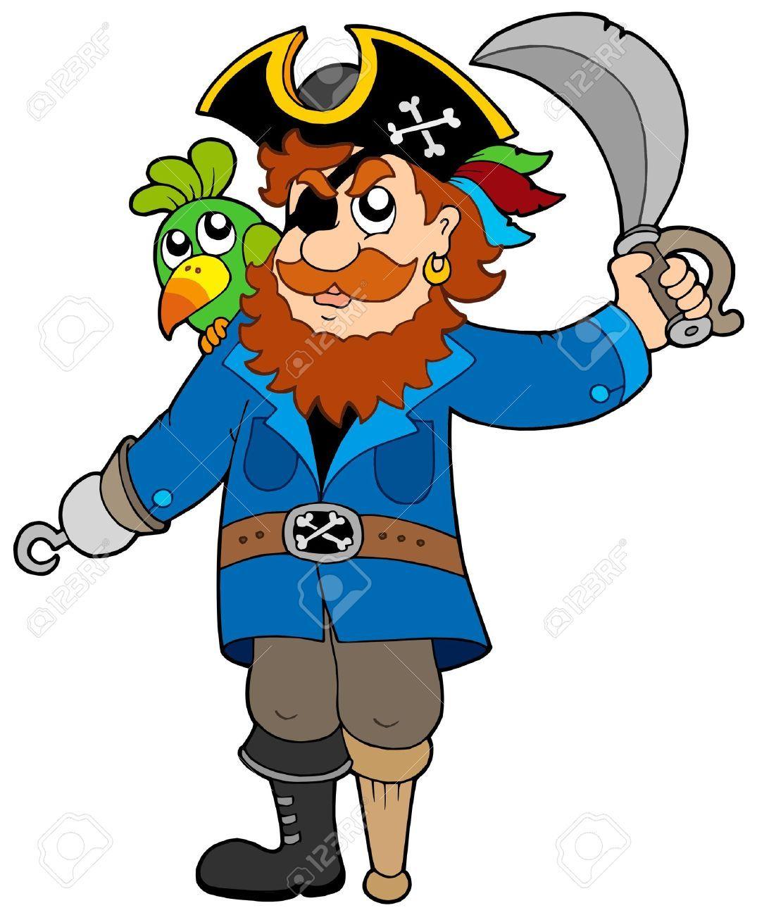 Pirata con su loro Y sable.