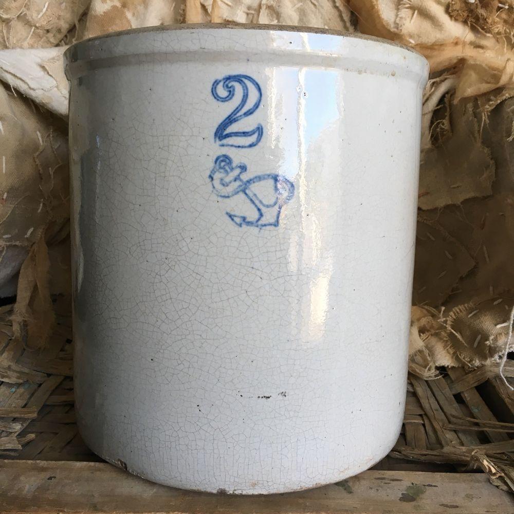 Antique 2 Gallon Ohio Stoneware Crock Vintage Glazed White