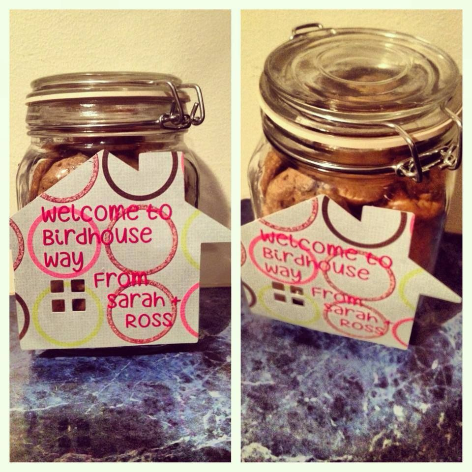 gift welcoming new neighbors chocolate chip cookies in a jar with a