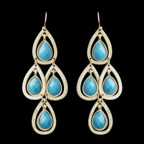 New Bridesmaid Gold Turquoi - Earrings - $32.99