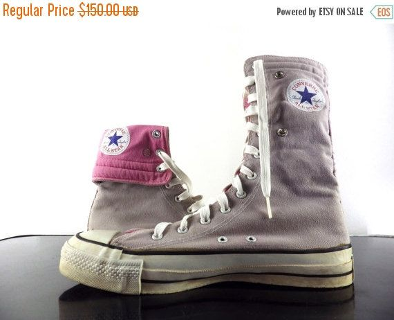18c7a9544a74 Vintage USA Made Converse Flip Top High Top Gray Pink Sneakers   Trainers  Fold Down Lining Men 7.5 Women Us 9 9.5 Uk 7 Euro 40 41