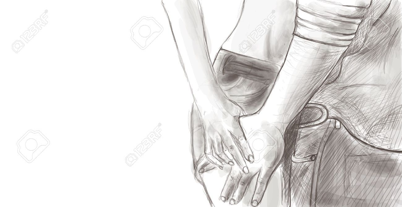 Couple holding hands close up sketch royalty free cliparts