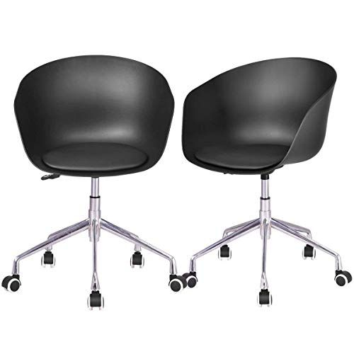 swivel office chair without arms ergonomic with lumbar support set of 2 task upholstered height adjustable rolling home conference beuniquetoday