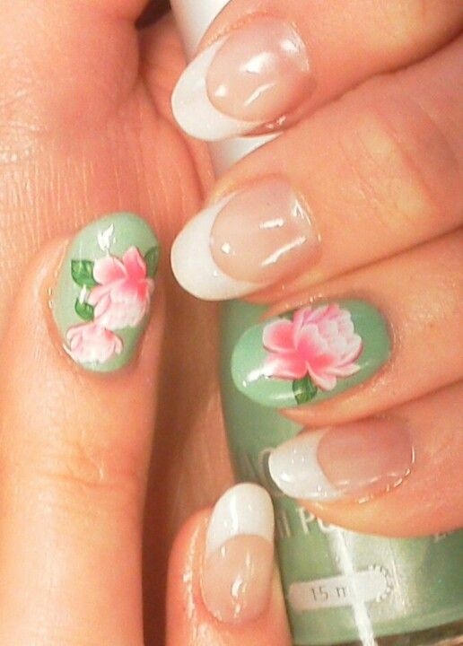 french manicure with two sage green