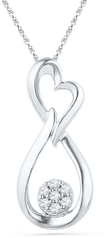 Zales 1/8 CT. T.w. Diamond Infinity Loop Pendant in Sterling Silver ae95C
