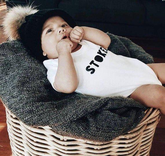 beach baby 'STOKED' 100% Organic cotton bodysuit - babygrow - newborn gift - cute baby gift - baby s
