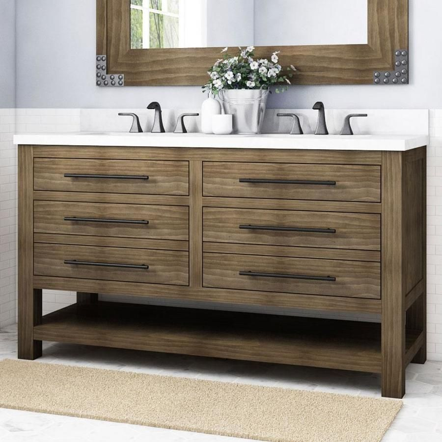 Allen Roth Kennilton 60 In Gray Oak Double Sink Bathroom Vanity With Carrera White Engineered Stone Top Lowes Com Double Sink Bathroom Vanity Double Sink Bathroom Bathroom Sink Vanity