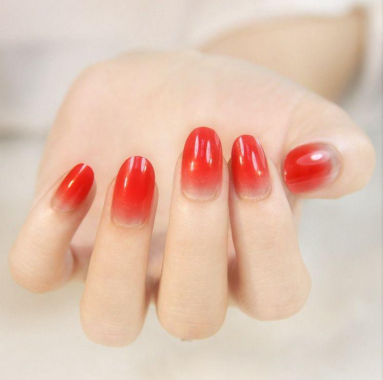 Full Sizes 24pcs Acrylic Full Cover Nail Tips False Nail Art Glue ...