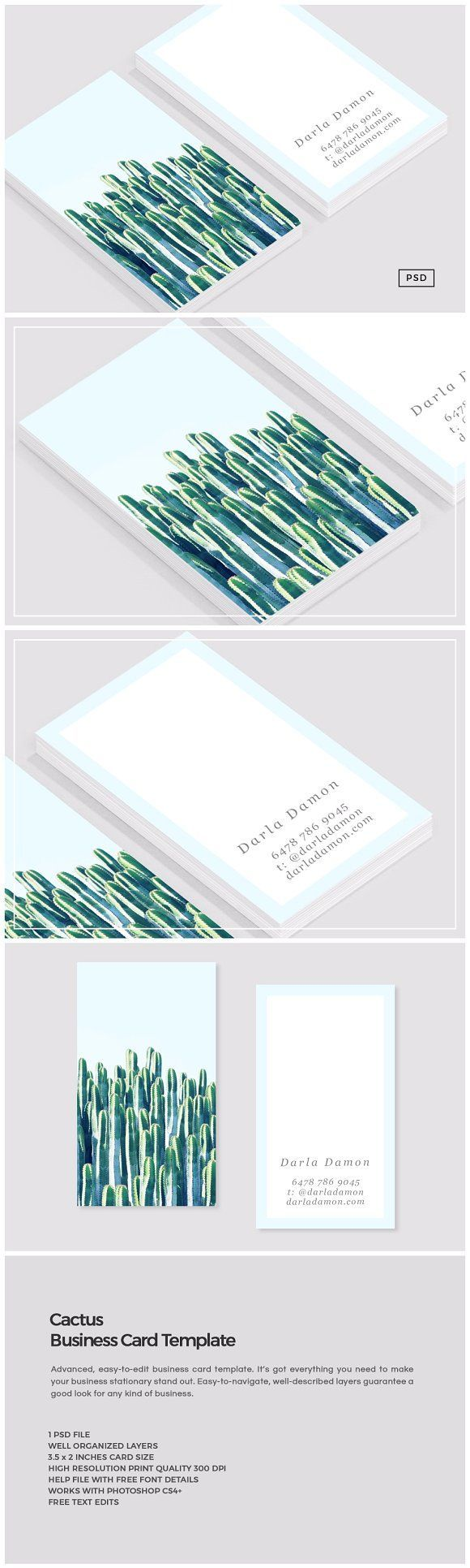 Cactus business card template by the design label on creativemarket cactus business card template by the design label on creativemarket free printable colourmoves