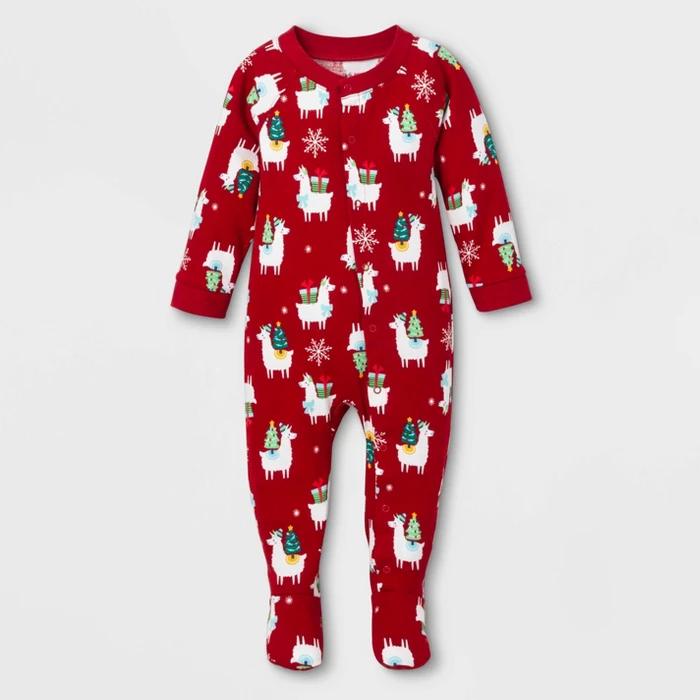 Baby Holiday Llama Footed Pajamas White