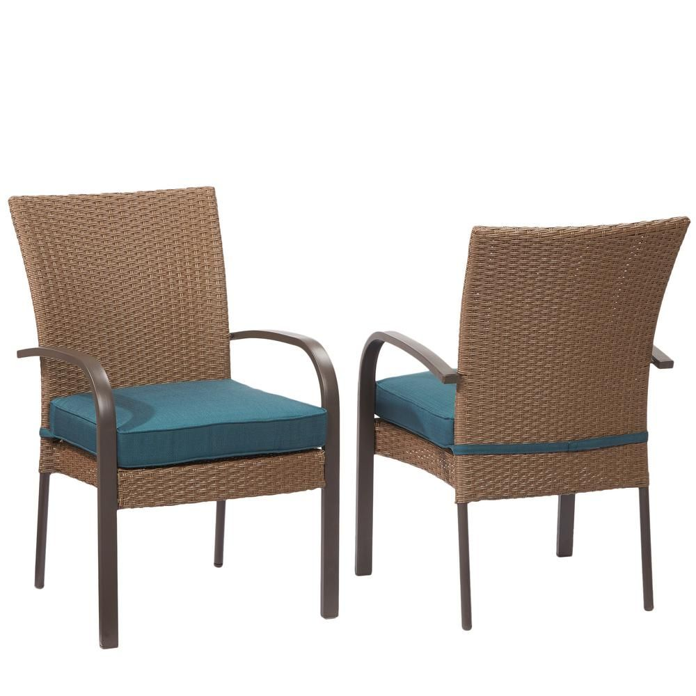 Hampton Bay Corranade Stackable Wicker Outdoor Dining Chair With Charleston  Cushion (2 Pack)