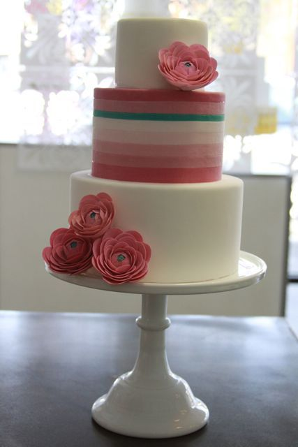 pink ombre with an unexpected pop of turquoise & some pink sugar ranunculus  -my sweet saucy