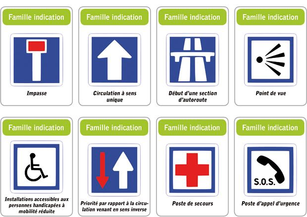 jeu des 5 familles de panneaux de signalisation routi re famille indication education civique. Black Bedroom Furniture Sets. Home Design Ideas