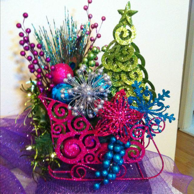 Christmas Decorations Hobby Lobby: Sleigh Christmas Table Arrangement. All From Hobby Lobby
