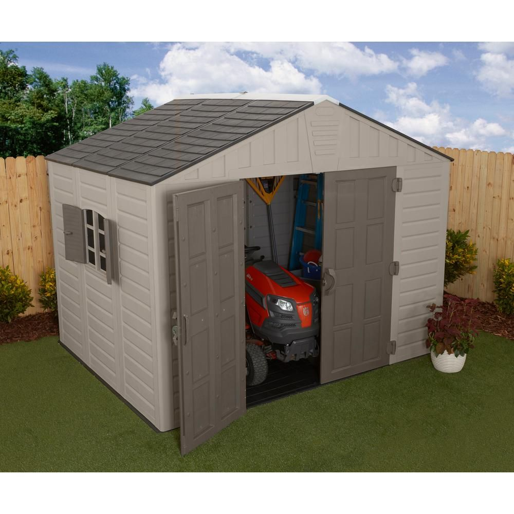 Us Leisure 10 Ft X 8 Ft Keter Stronghold Resin Storage Shed 157479 The Home Depot Resin Storage Outdoor Storage Sheds Rubbermaid Storage Shed