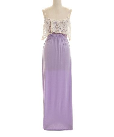 Another great find on #zulily! Lilac Lace Overlay Layered Maxi Dress #zulilyfinds