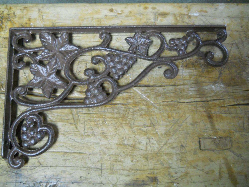 Garden Braces Shelf Bracket 4 Cast Iron Antique Style GRAPES /& VINE Brackets
