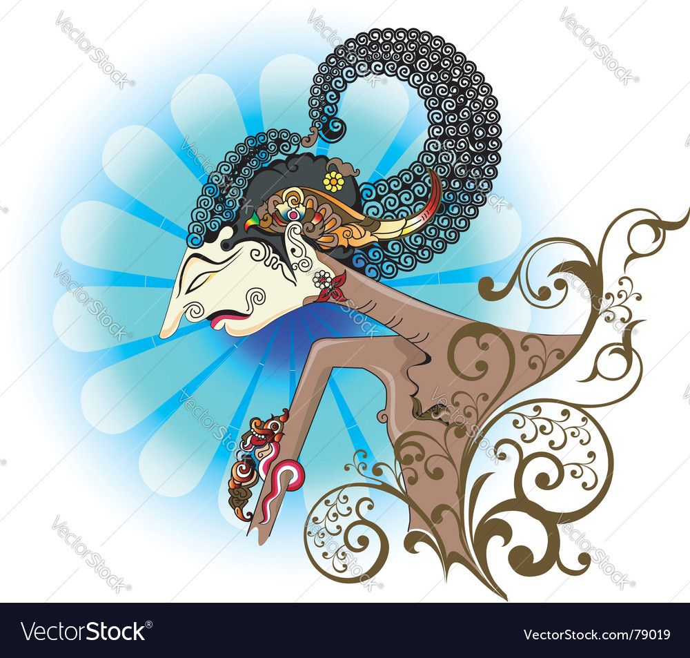 Wayang Kulit Or Shadow Puppet Vector Image On