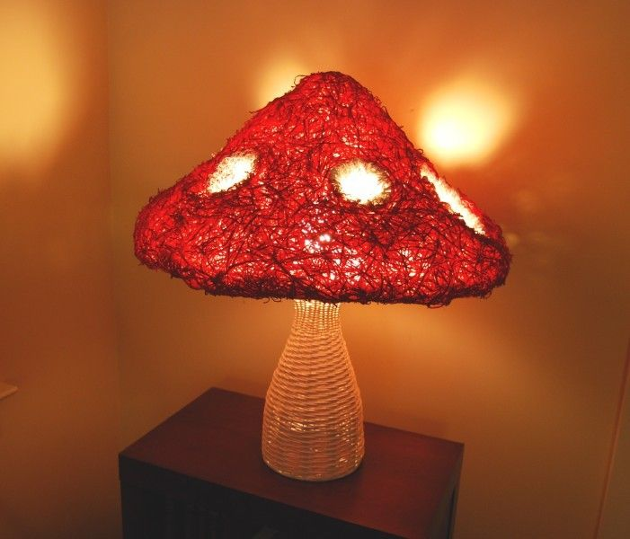 Fairytale Mushroom Red and White Wicker Lamp Magical Gnome Alice in Wonderland Room Accessory. $60.00, via Etsy.