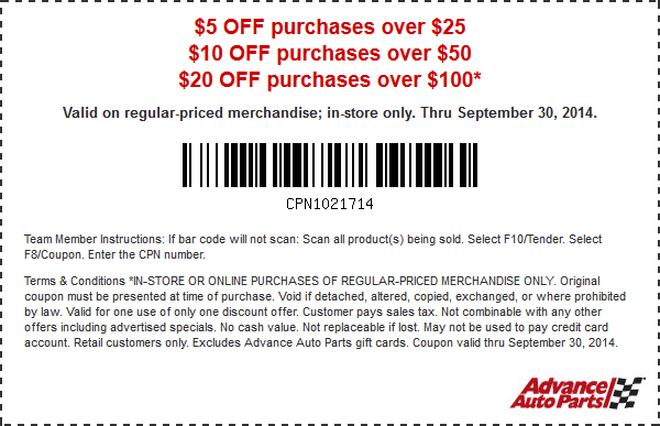 Advance Auto In Store Coupons >> Pinned September 22nd 5 Off 25 More At Advance Auto Parts