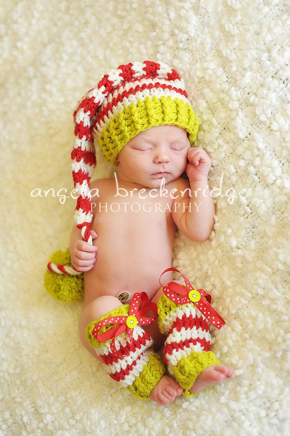 Baby Elf Hat and Leg Warmer Set Green Red and by BabeeStitches ...