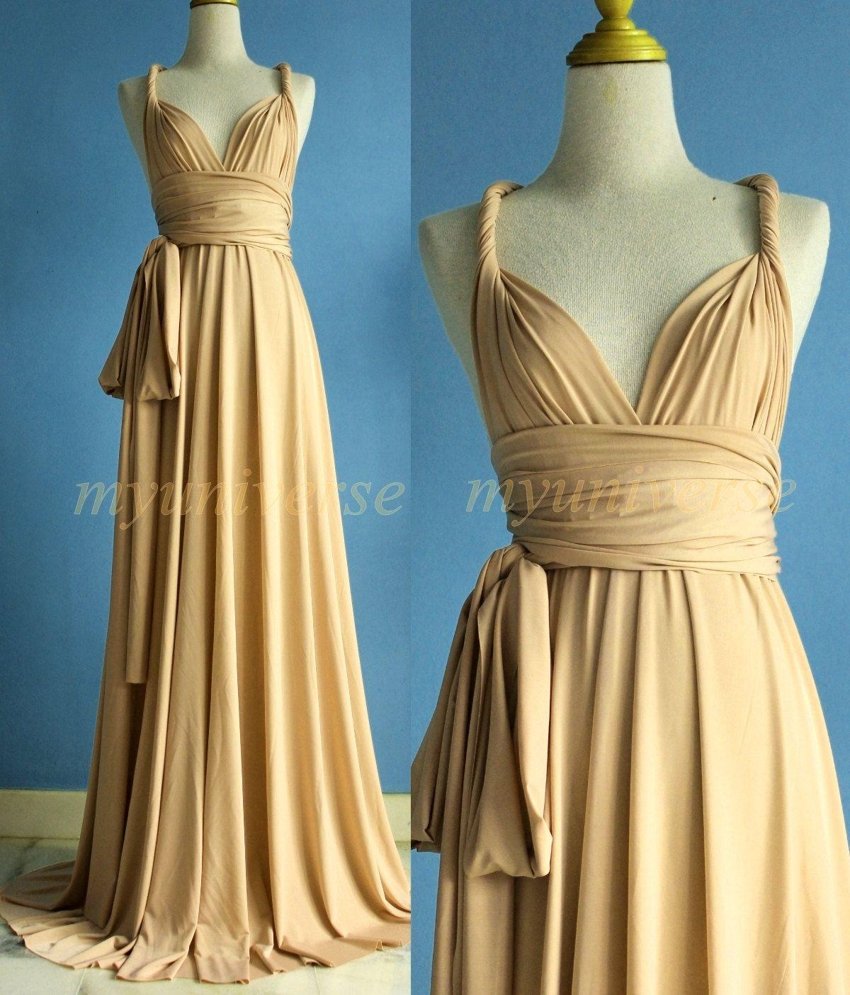 Champagne Bridesmaid Dress Wrap Beige Convertible Dress Wedding ...