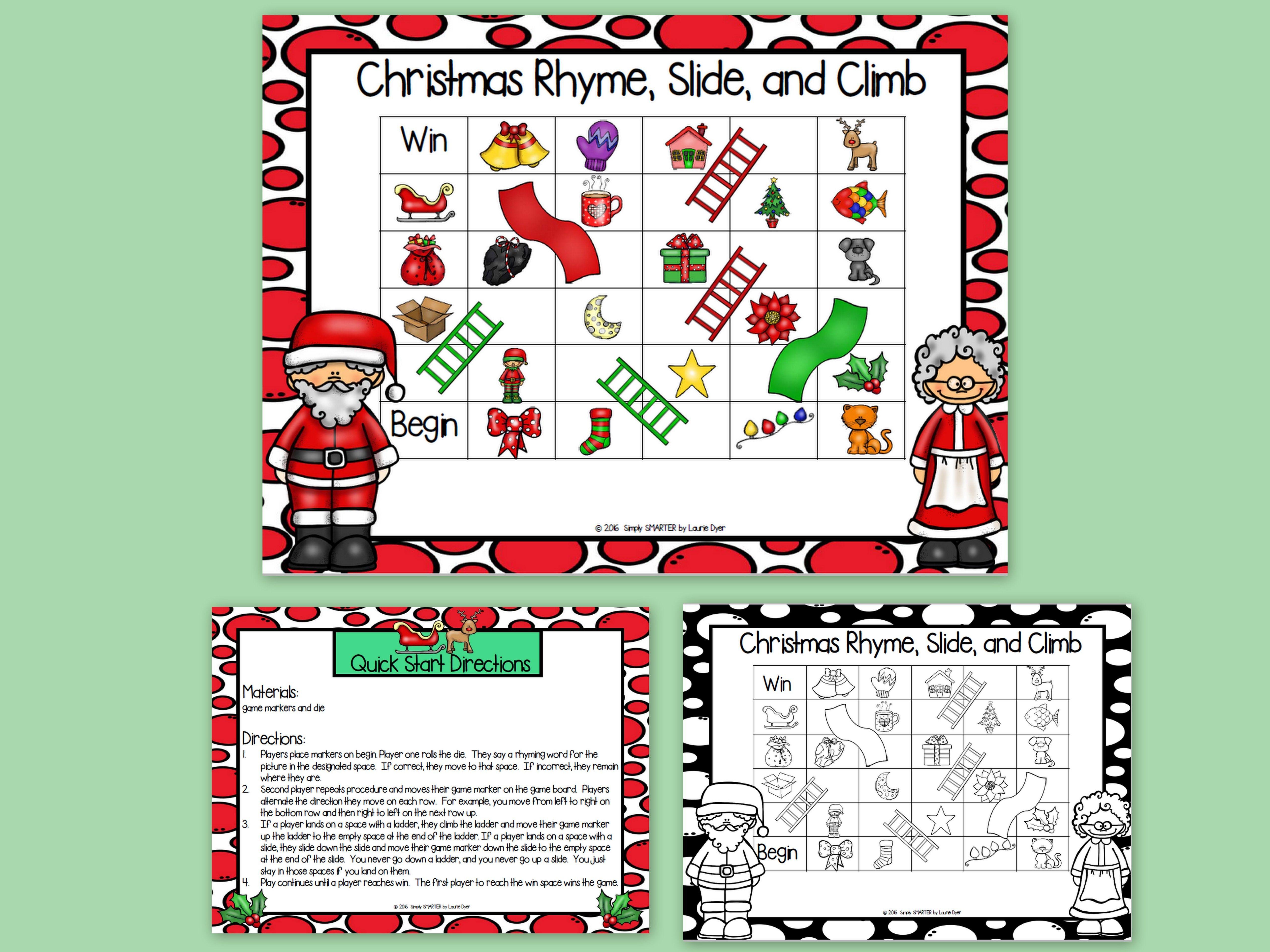 Christmas Rhyme, Slide, and Climb: NO PREP Christmas Rhyming Game ...