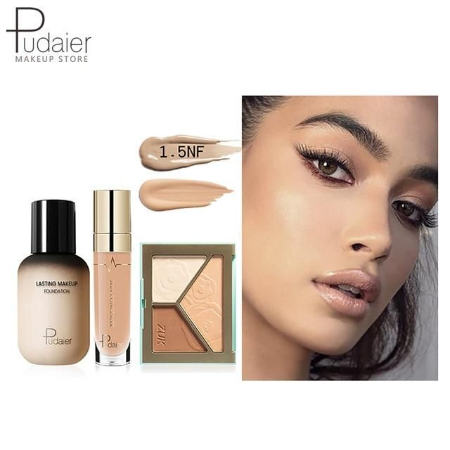 Pudaier Face Foundation Make-up Set Liquid Foundation Creme Matt Highlighter Base Gesicht ALL Concealer Cosmetic Professional Base – 1.5NF