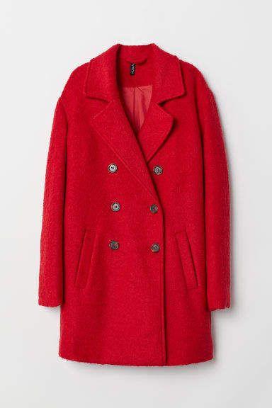 Wool blend Coat in 2019 | Red coat outfit, Red wool coat, Coat