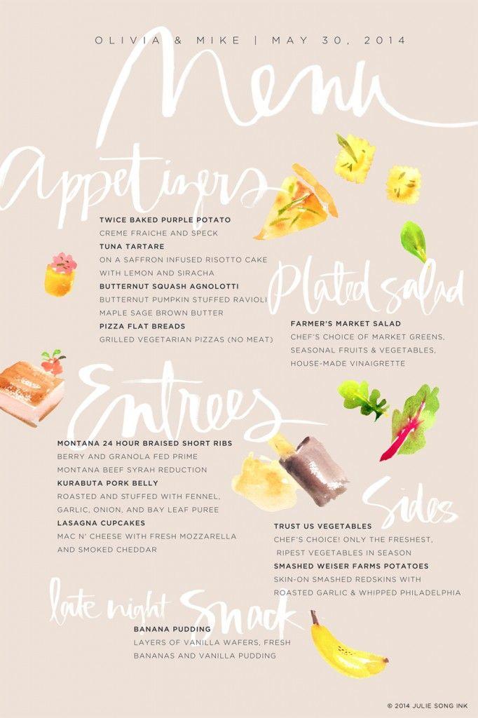 Watercolor + Handlettered Menu by Julie Song Ink | Best Food ...