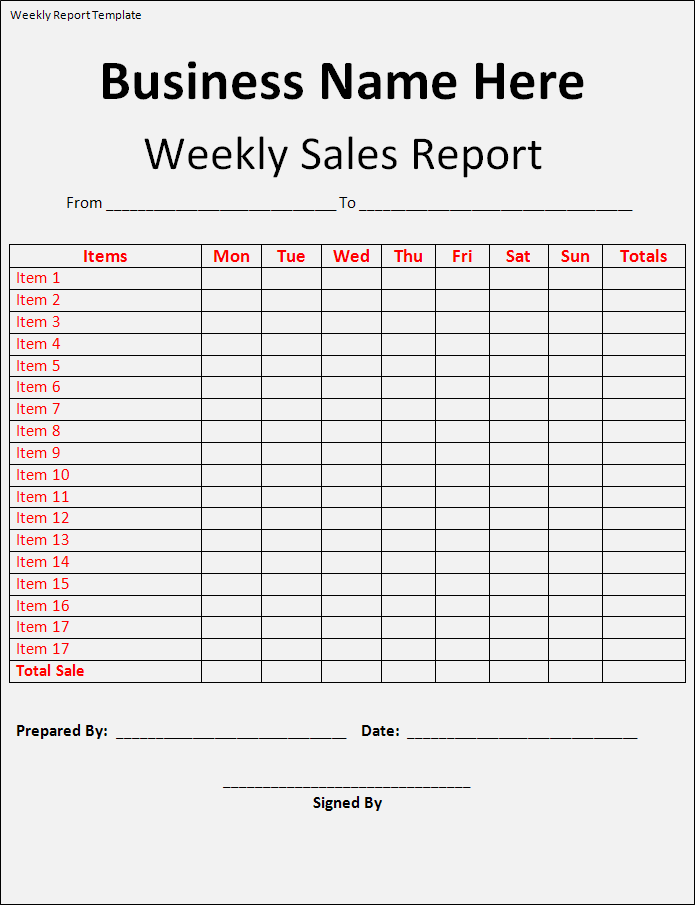 weekly sales report template