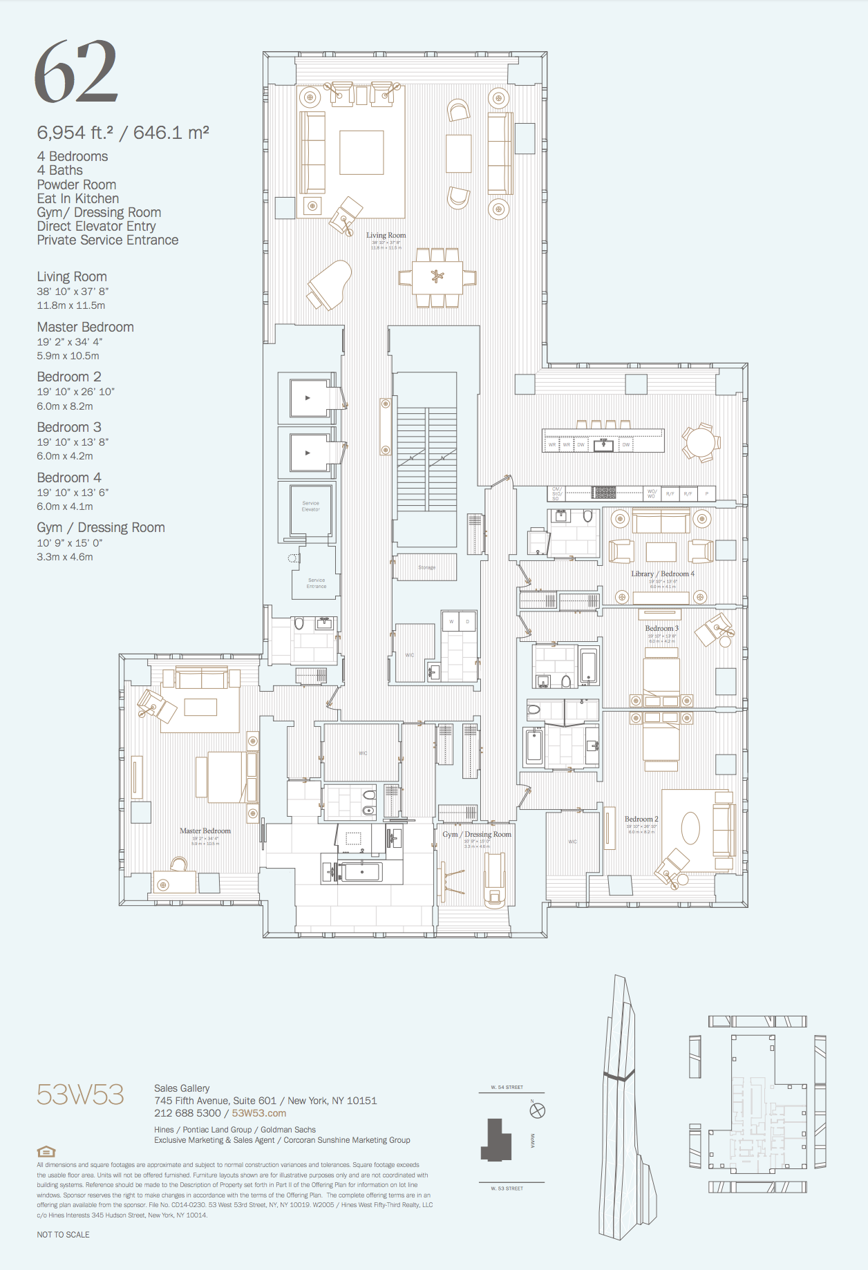 62 4 Bedrooms 4 5 Bathrooms 6 954 Sq Ft 646 0 Sq M View Of The City Park Hotel Room Design Plan Apartment Floor Plans Penthouse Apartment Floor Plan