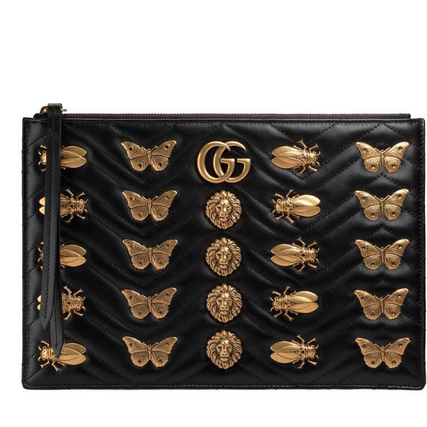 472c98cb7e9c45 Gucci Gg Marmont Animal Studs Leather Pouch ($1,200) ❤ liked on Polyvore  featuring bags, handbags, clutches, black, zip pouch, genuine leather  handbags, ...