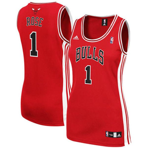 adidas Derrick Rose Chicago Bulls Women s Red Replica Jersey ( 70) ❤ liked  on Polyvore featuring red 39d35eaf5b