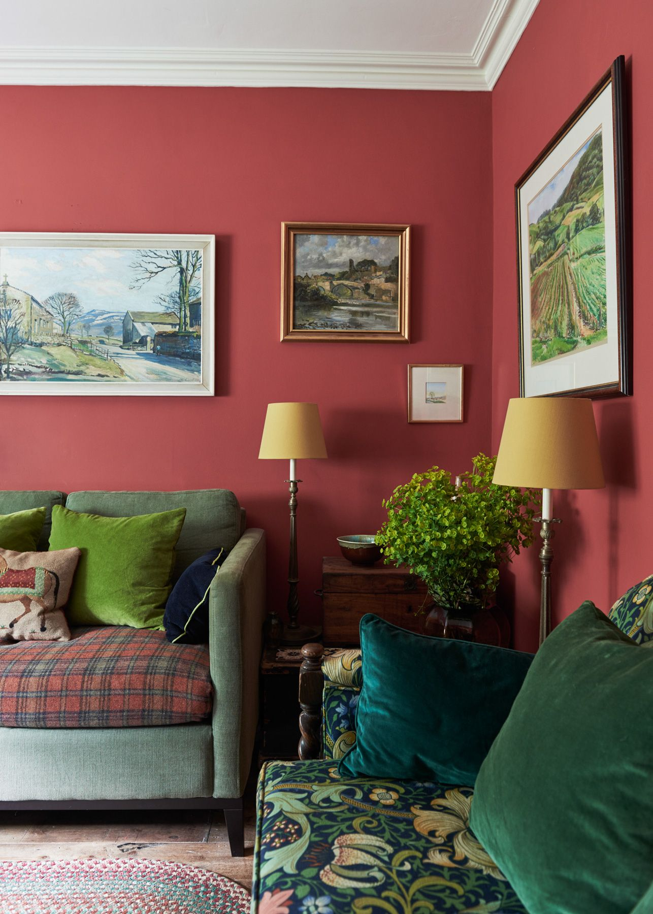 Farrow And Ball Blazer Red Walls In Sitting Room Designed By Bretton Studios