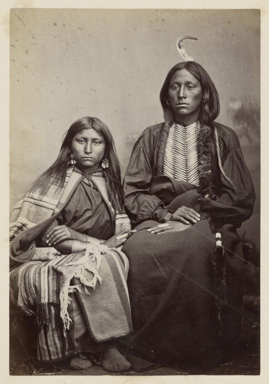 Kiowa Chief, Tomeatho [Trailing the Enemy, Eonah-pah] and Squaw, [Probably the Oldest Daughter of Satanta]; William Stinson Soule (American, 1836 - 1908); 1869 - 1874; Albumen silver print; 14.8 x 10.2 cm (5 13/16 x 4 in.); 84.XM.192.15