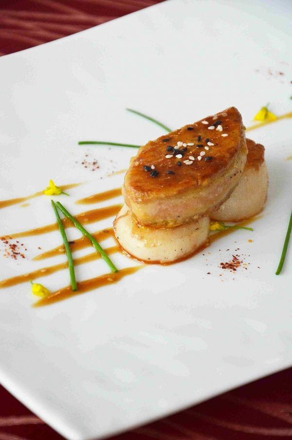 Seared Foie Gras Scallops Abalone Sauce Food