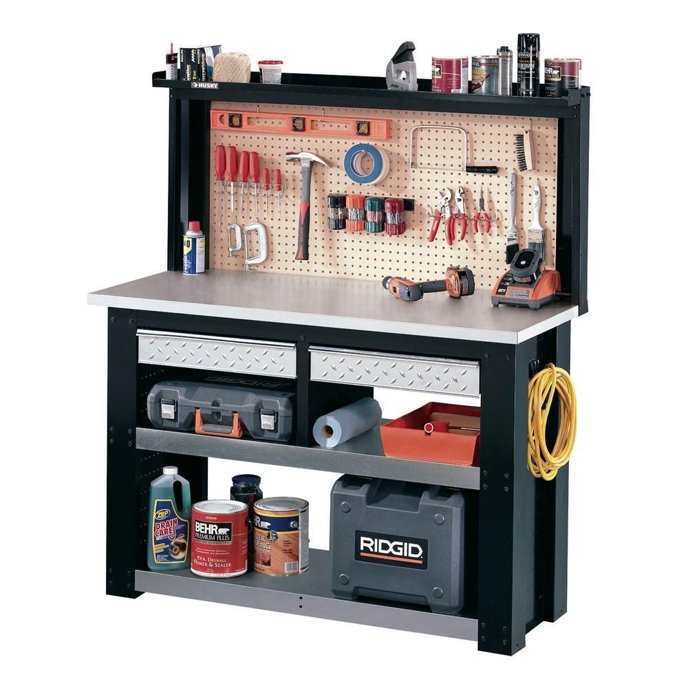 Husky Stack On 4.5 Ft. Workbench With Steel Wrapped Work Area And  Additional Storage