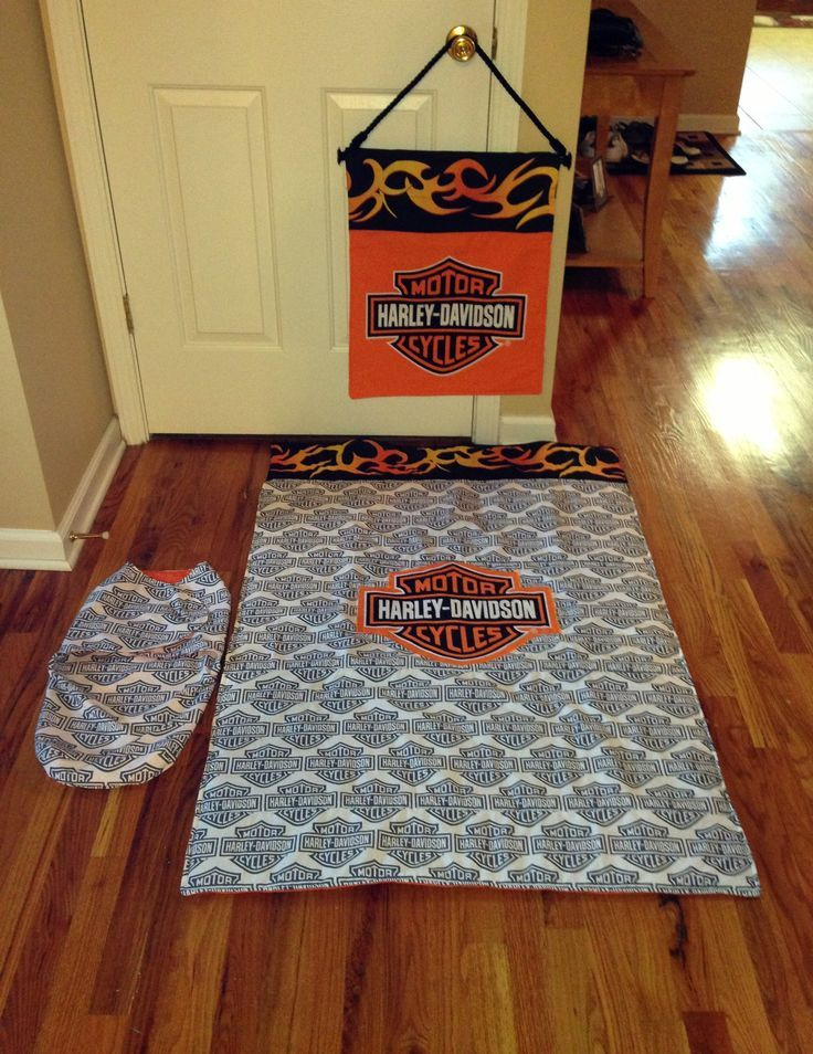 harley davidson crib comforter, wall hanging and baby bunting