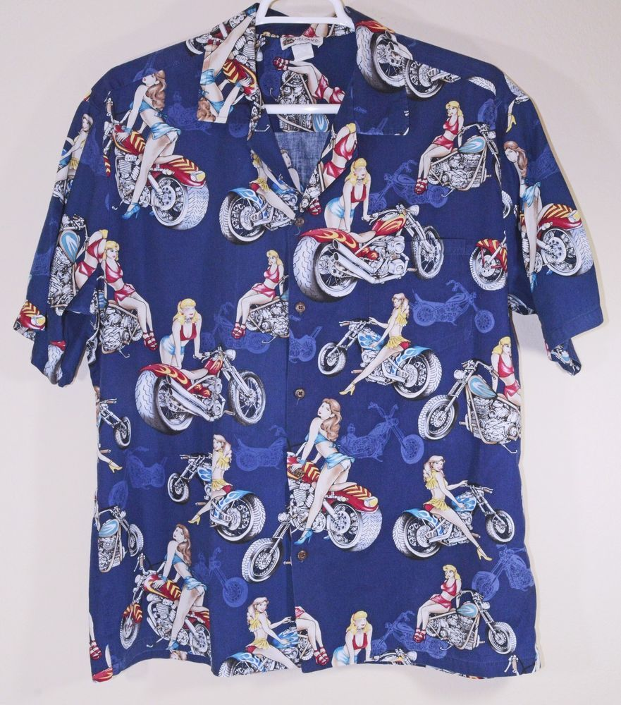 278d9e287d7 Aloha Republic Hawaiian Shirt Size XL Pin-up Girls Chopper ...