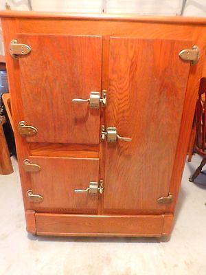 Antique Oak 3 Door Ice Box With Original Hardware Antique Ice Box Vintage Ice Box Ice Box