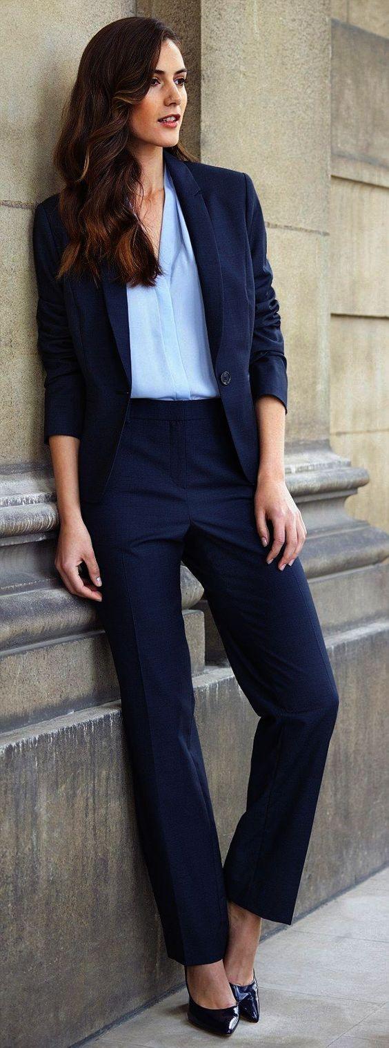 New Dark Blue Formal Ladies Pant Suits Female Business Suit Women Office Uniform