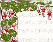 patterns fuschia flower art nouveau - Google Search