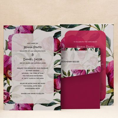 Peonies Pink Wedding Floral Cards , E-Card Designs Buy Peonies Pink - invitation card decoration