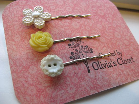 Sweet Daisy Resin Flowers and Buttons Hair Pin by InOliviasCloset, $6.00