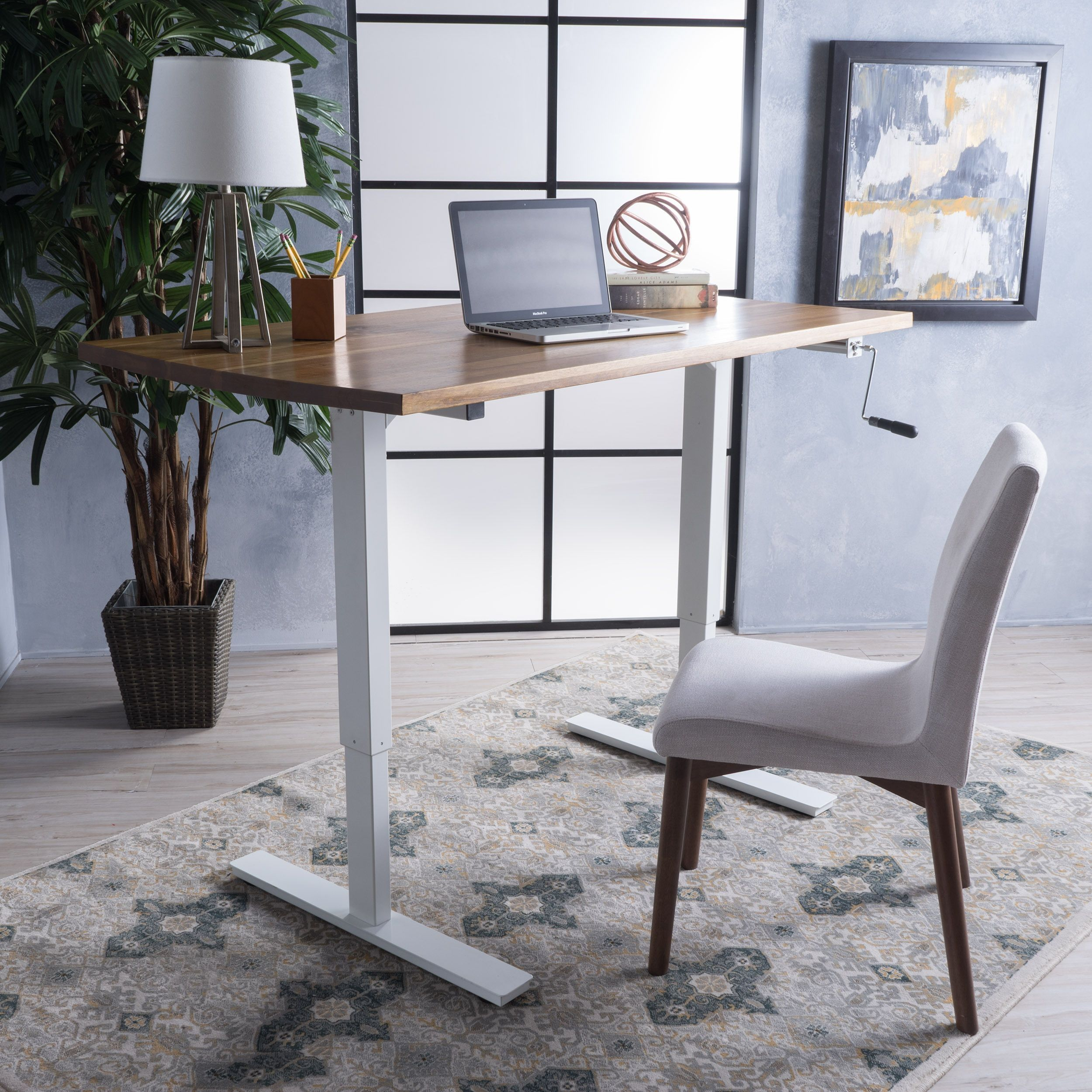 Jenson 58inch acacia wood desk with adjustable height and