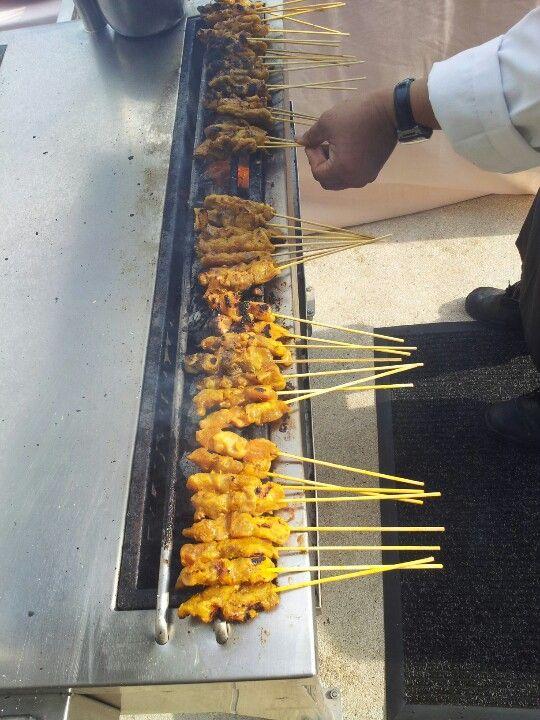 Sizzling chicken satay...