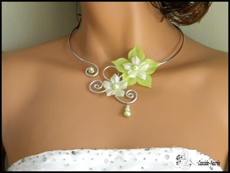 Assez Collier fleur soie vert anis blanc mariage alu perle fantaisie  XI97