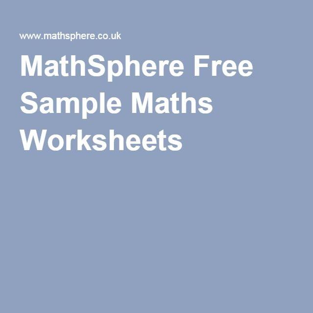 MathSphere Free Sample Maths Worksheets | Math | Pinterest | Math ...