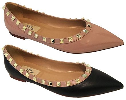 eaf3e88fc36 Kaitlyn Pan Pointed Toe Studded Ballerina Leather Flats in nude and black  (Valentino Rockstud dupes)